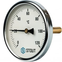Термометр биметаллический с погружной гильзой корпус ø100 мм гильза 75 мм 1/2