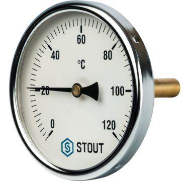 Термометр биметаллический с погружной гильзой корпус ø100 мм гильза 75 мм 1/2 Stout SIM-0001-107515