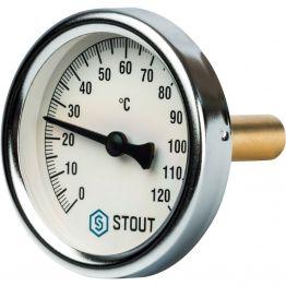 Термометр биметаллический с погружной гильзой корпус ø63 мм гильза 50 мм 1/2