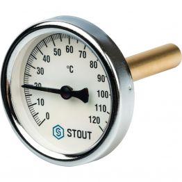 Термометр биметаллический с погружной гильзой корпус ø63 мм гильза 75 мм 1/2