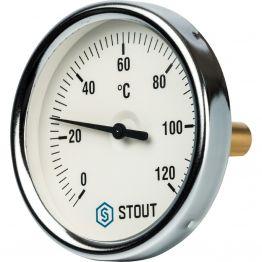 Термометр биметаллический с погружной гильзой корпус ø80 мм гильза 50 мм 1/2