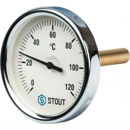 Термометр биметаллический с погружной гильзой корпус ø80 мм гильза 75 мм 1/2