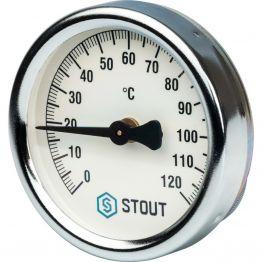 Термометр биметаллический накладной с пружиной корпус ø63 мм Stout