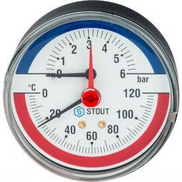 Термоманометр аксиальный с автоматическим запорным клапаном корпус ø80 1/2