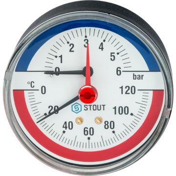 Термоманометр аксиальный с автоматическим запорным клапаном корпус ø80 1/2 0-6 бар до 120°С Stout SIM-0005-800615