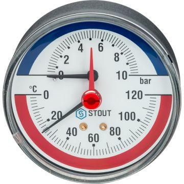 Термоманометр аксиальный с автоматическим запорным клапаном корпус ø80 1/2 0-10 бар до 120°С Stout SIM-0005-801015