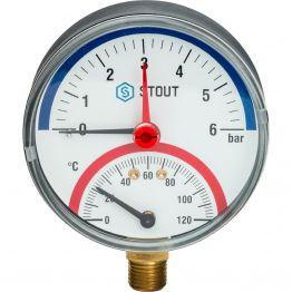 Термоманометр радиальный с автоматическим запорным клапаном корпус ø80 1/2