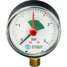 Манометр радиальный с указателем предела корпус ø63 1/4 0-4 бар Stout SIM-0008-630408