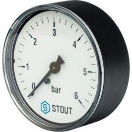 Манометр аксиальный с указателем предела корпус ø63 1/4 0-6 бар Stout SIM-0009-630608