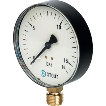 Манометр радиальный корпус ø100 мм 1/2 0-16 бар Stout SIM-0010-101615