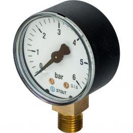 Манометр радиальный корпус ø50 мм 1/4 0-6 бар Stout SIM-0010-500608