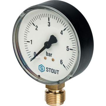 Манометр радиальный корпус ø80 мм 1/2 0-6 бар Stout SIM-0010-800615