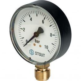 Манометр радиальный корпус ø80 мм 1/2 0-10 бар Stout SIM-0010-801015