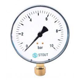 Манометр радиальный корпус ø80 мм 1/2 0-16 бар Stout SIM-0010-801615