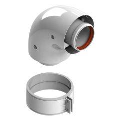Элемент дымохода ø60/100 отвод коаксиальный 90° п/м уплотнения и хомут в комплекте Stout