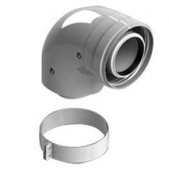 Элемент дымохода конденсационный ø60/100 адаптер 90° м/п PP-FE с хомутом (Vaillant, Ariston) Stout