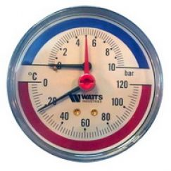 Термоманометр аксиальный FR 818 (TMAX) ø80 10 Бар 1/2