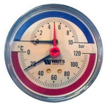 Термоманометр аксиальный FR 818 (TMAX) ø80 10 Бар 1/2 Watts 10009465