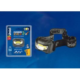 Фонарь налобный S-HL017-C Black серии Стандарт Hawkeye- 3Watt+ COB, 3хААА н/к, упаковка кламшелл Uni UL-00001379