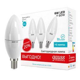 Лампа светодиодная Elementary Candle 6Вт E14 4100K (3 лампы в упаковке) GAUSS 33126T