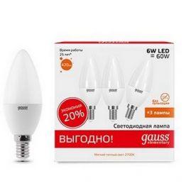 Лампа светодиодная Elementary Candle 6Вт E14 2700K (3 лампы в упаковке) GAUSS 33116T