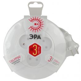 Удлинитель ЭРА (белый) рулетка, без заземл, 2x0.75мм2, 3гн, 3м UR-3-3m-W