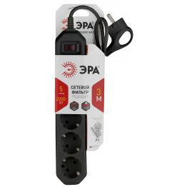 Сетевой фильтр ЭРА (черный) с заземл, 3x0,75мм2, с выкл, 5гн, 3м USF-5es-3m-B