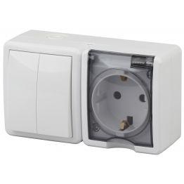 ЭРА Блок розетка+выключатель двойной IP54, 16АХ(10AX)-250В, ОУ, Эра Эксперт, белый 11-7402-01