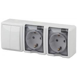 ЭРА Блок две розетки+выключатель двойной IP54, 16АХ(10AX)-250В, ОУ, Эра Эксперт, белый 11-7404-01