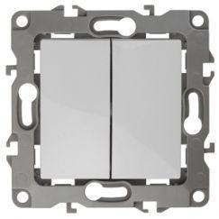 ЭРА Выключатель двойной, 10АХ-250В, Эра12, белый