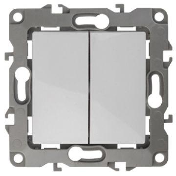 ЭРА Выключатель двойной, 10АХ-250В, Эра12, белый 12-1104-01