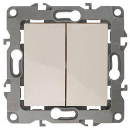 ЭРА Выключатель двойной, 10АХ-250В, Эра12, слоновая кость 12-1104-02