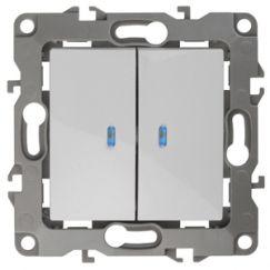 ЭРА Выключатель двойной с подсветкой, 10АХ-250В, Эра12, белый