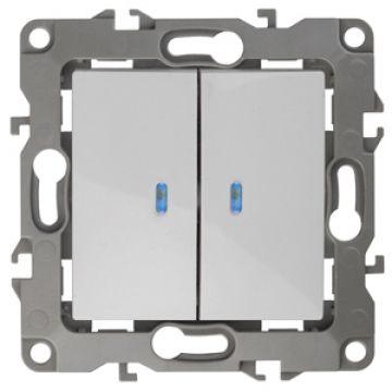 ЭРА Выключатель двойной с подсветкой, 10АХ-250В, Эра12, белый 12-1105-01