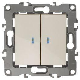 ЭРА Выключатель двойной с подсветкой, 10АХ-250В, Эра12, слоновая кость 12-1105-02