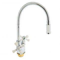 Смеситель для кухни с высоким изливом (хром/белый) SL92W-279F