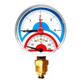 Термоманометр радиальный FR 828 (TMRA) ø80 4 Бар 1/2