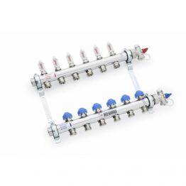 Коллектор распределительный HKV-D на 8 контуров REHAU ( нерж.сталь) + комплект шаровых кранов HKV