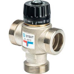 """Клапан смесительный термостатический для отопления и ГВС 1 1/4"""" НР 30-65°C KV3,5 центр смеш-ие Stout"""