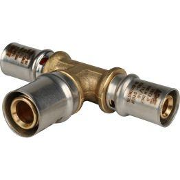 Тройник переходной ø16*20*16 для металлопластиковых труб пресс STOUT (10/90)