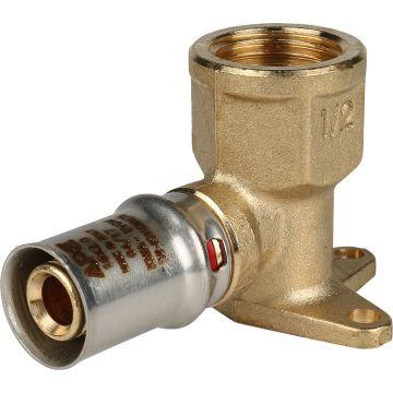 Угольник настенный с креплением ø1/2x16 короткий для м/п труб пресс STOUT SFP-0018-001216