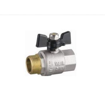 Кран шаровой 3/4 F/M VR203-02 бабочка никель ViEiR VR203-02