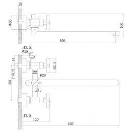 Смеситель Rossinka RS39-84 для ванны универсальный RS39-84