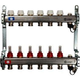 Коллектор из нерж стали с расходомерами с клапаном вып. воздуха и сливом на 6 выходов Stout