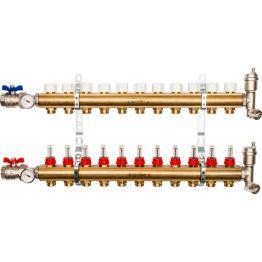 Коллектор распределительный из латуни с расходомерами на 11 выходов Stout
