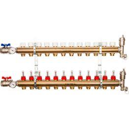 Коллектор распределительный из латуни с расходомерами на 12 выходов Stout