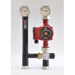 """Насосная группа с термостатическим смесительным клапаном (35-60°C) 1"""" без насоса Rommer"""