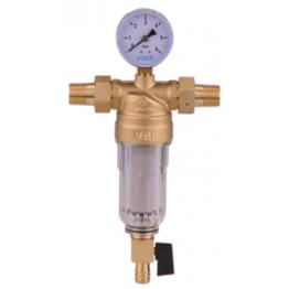 """Фильтр для холодной воды с манометром 1"""" JC156 Стекло ViEiR"""