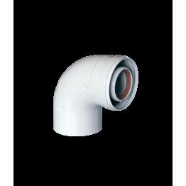 Угол коаксиальный 90° ø60/100 промежуточный M/F KRATS