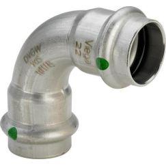 Отвод ВВ 90° Sanpress Inox, с SC-Contur, нержав.сталь, 22 мм